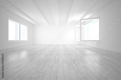 Bright room with opened windows