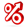 Percent Sign Arrow Right Up 3D Red