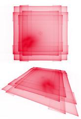 Red translucent layered squares