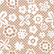 Lace white seamless pattern with flowers on beige background