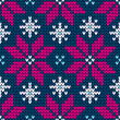 Seamless Pattern Knitted Poinsettia Pink/Blue/White
