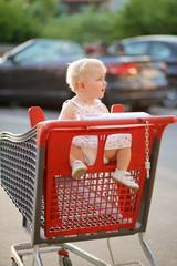 Adorable little girl sitting inside shopping cart