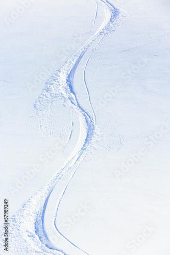 Papiers peints Glisse hiver Skiing, snow - freeride tracks on powder snow