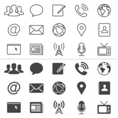 Media and communication thin icons, included normal and enable s