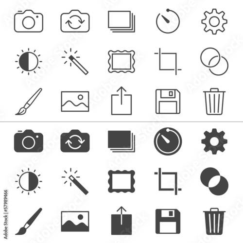 Photography thin icons, included normal and enable state.