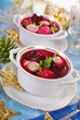 red borscht with ravioli for christmas