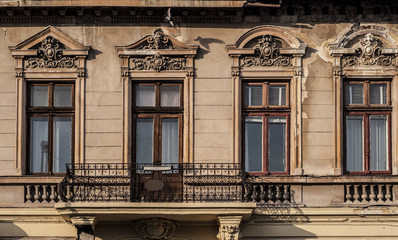Vintage windows and balcony