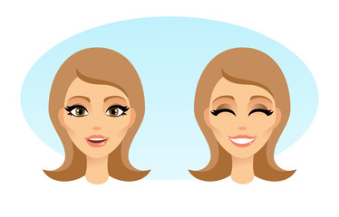 Beautiful Women Heads illustration Vector