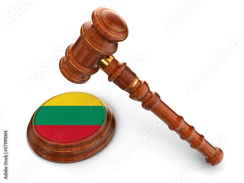 Wooden Mallet and Lithuanian flag (clipping path included)