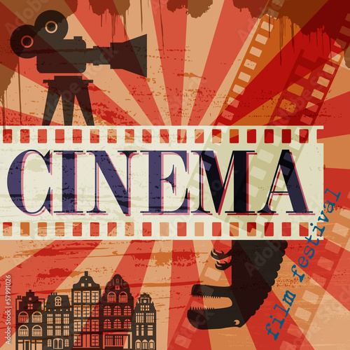 Retro cinema poster, vector