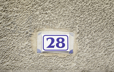 Number twenty-eight on a wall