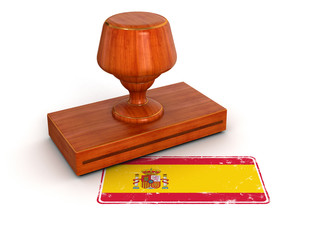 Rubber Stamp Spanish flag (clipping path included)