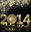 New 2014 Year golden card, vector illustration