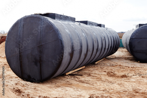 Underground storage tank at a construction site.