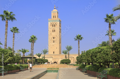 Minaret of the Koutoubia Mosque in Marrakesh, Morocco