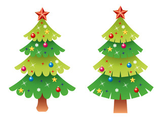 vector  christmas tree set