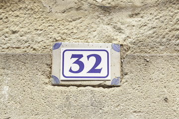 Number thirty-two on the wall