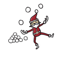 Santa claus playing snowballs
