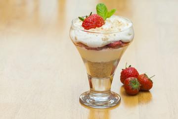 Strawberries and Cream Dessert Landscape format