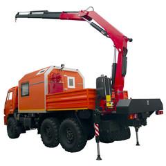 orange  repair truck with crane