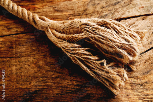 frayed 	hemp rope