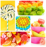 Collage of different colorful candy and sweets