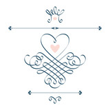 Calligraphic heart, crown, flourish