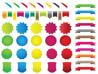 ribbons stickers colors set