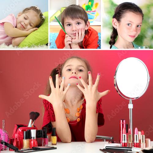 Collage of cute little children