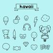 Set of decorative design elements kawaii doodles.