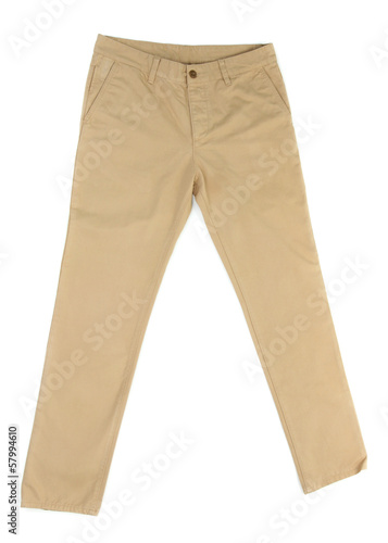 Beige trousers isolated on white