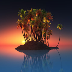 palm island at ocean and sunset