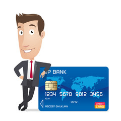 Businessman, manager - finance character - credit card