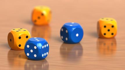A few color dice cubes