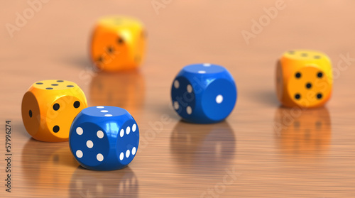 A few color dice cubes