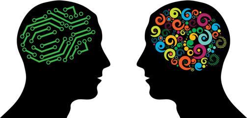 Different brain in heads