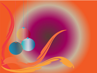 Christmas balls in orange background