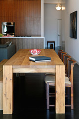 Rectangular wooden dining table