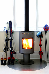 Burning stove and ski gear