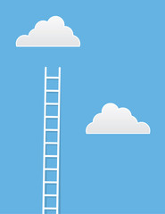 Ladder leading up to clouds in the sky