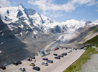 Parking on top Glacier Pasterze. Austrian Alps