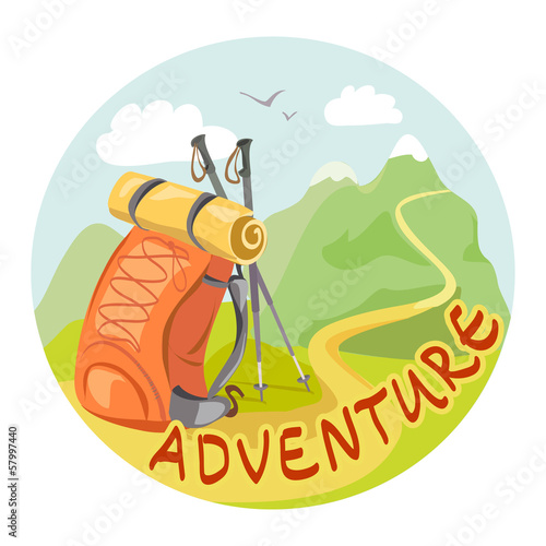 icon with a backpack and a mountain landscape
