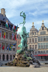 Brabo fountain in Antwerp, Belgium