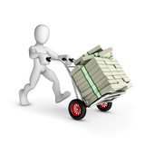 Man with cart full of US dollars - Isolated
