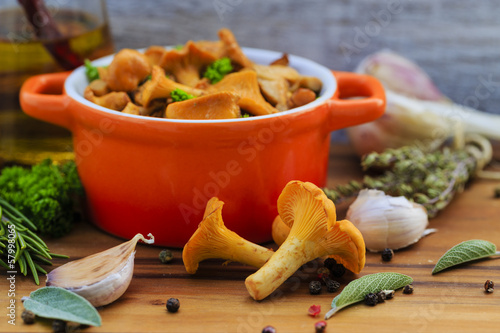 Chanterelle mushrooms cooked in a pan