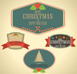 Set of vector Christmas decoration and vintage new year labels