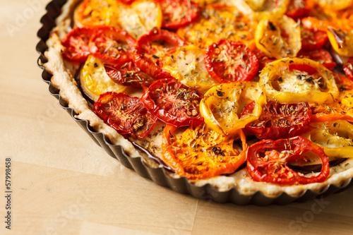 Quiche with tomato
