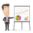Businessman, manager - statistics, flipchart, whiteboard