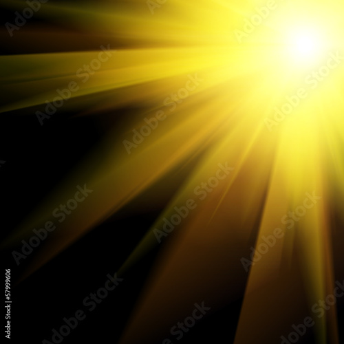 Sun and Sun rays over a black Background