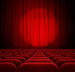 cinema red curtains with spotlight and seats